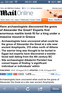 Daily Mail headline: Alexander's Grave Discovered?