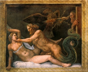 Zeus seduces Olympias by Giulio Romano