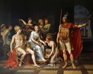 """Hector Admonishes Paris for His Softness and Exhorts Him to Go to War by J.H.W. Tischbein (1751–1828)"" - Brilliant description on Wikipedia"