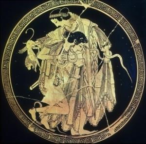 Peleus wrestles Thetis (credit: daillest94.tumblr.com)