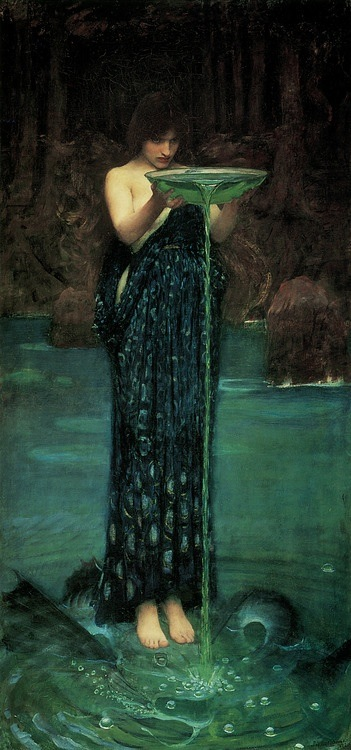 Circe offers Odysseus her magic potion - J W Waterhouse (image from atrogallery on Tumblr)